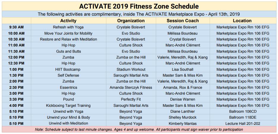 ACTIVATE 2019 Fitness Zone Schedule